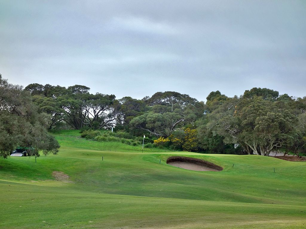 1st Hole at Moonah Links Resort (Open) (371 Yard Par 4)