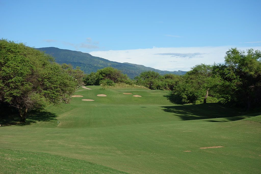 4th Hole at The Dunes at Maui Lani (509 Yard Par 5)