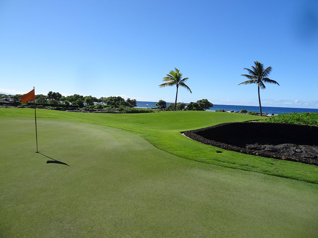 14th Hole at Kohanaiki Golf and Ocean Club (374 Yard Par 4)