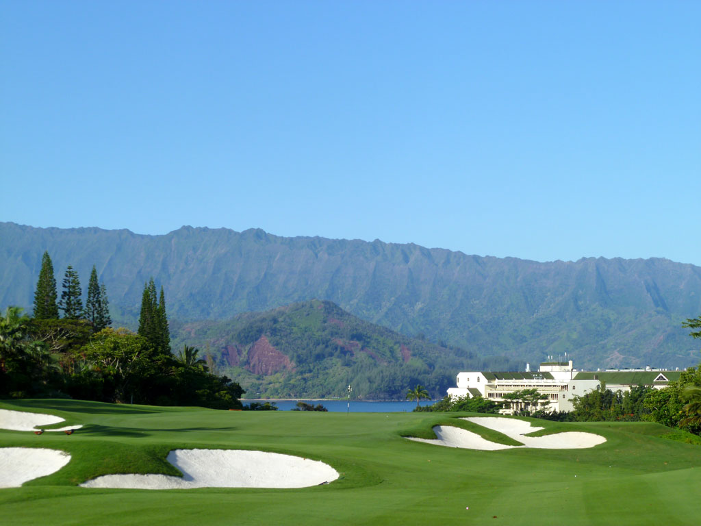 The beautiful par five 2nd hole at Makai in Kauai