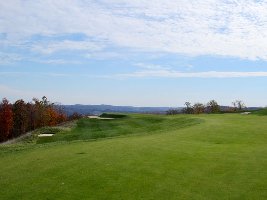 12th Hole at French Lick (Dye) (529/430 Yard Par 4)