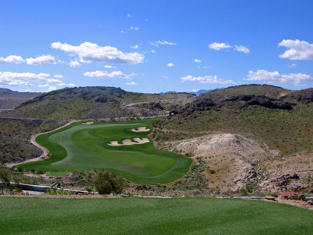13th Hole at Falls at Lake Las Vegas (388 Yard Par 4)