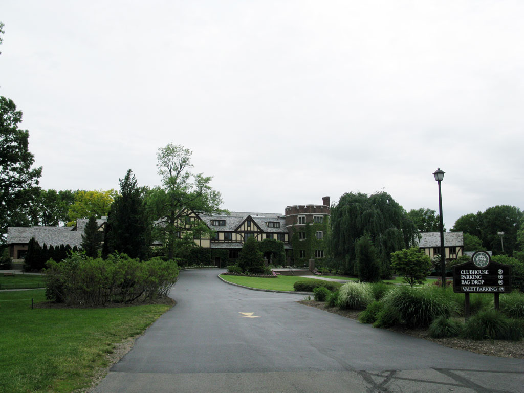 The clubhouse at Oak Hill Country Club)
