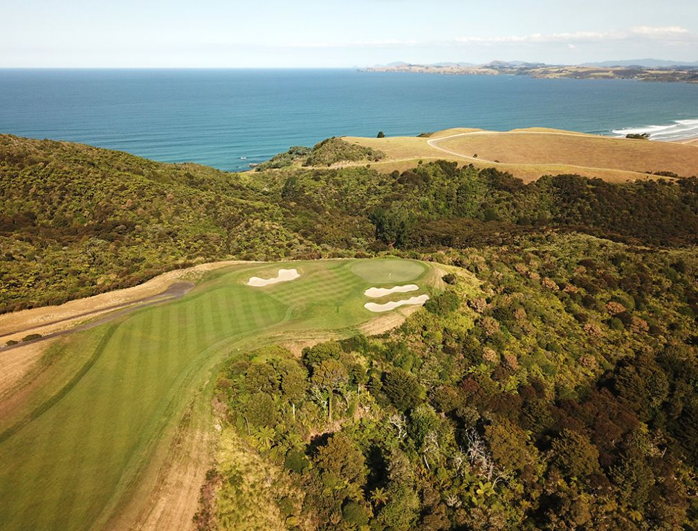 4th Hole at Kauri Cliffs Golf Course (558 Yard Par 5)