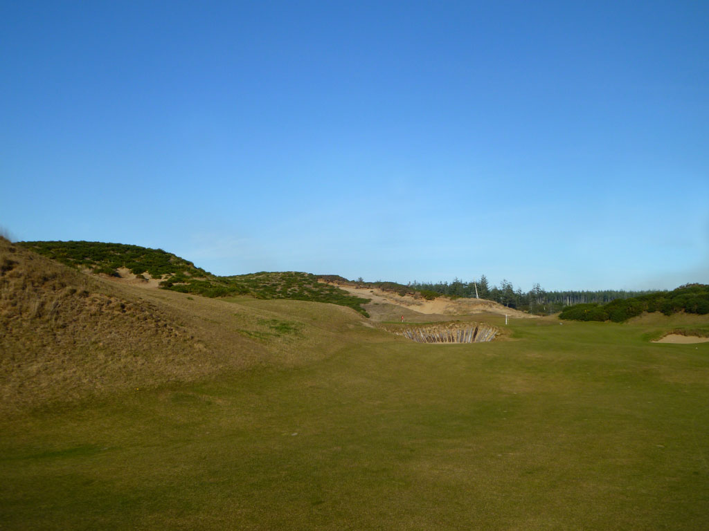 The approach shot from the right side of the Alps on the 16th Hole at Old Macdonald