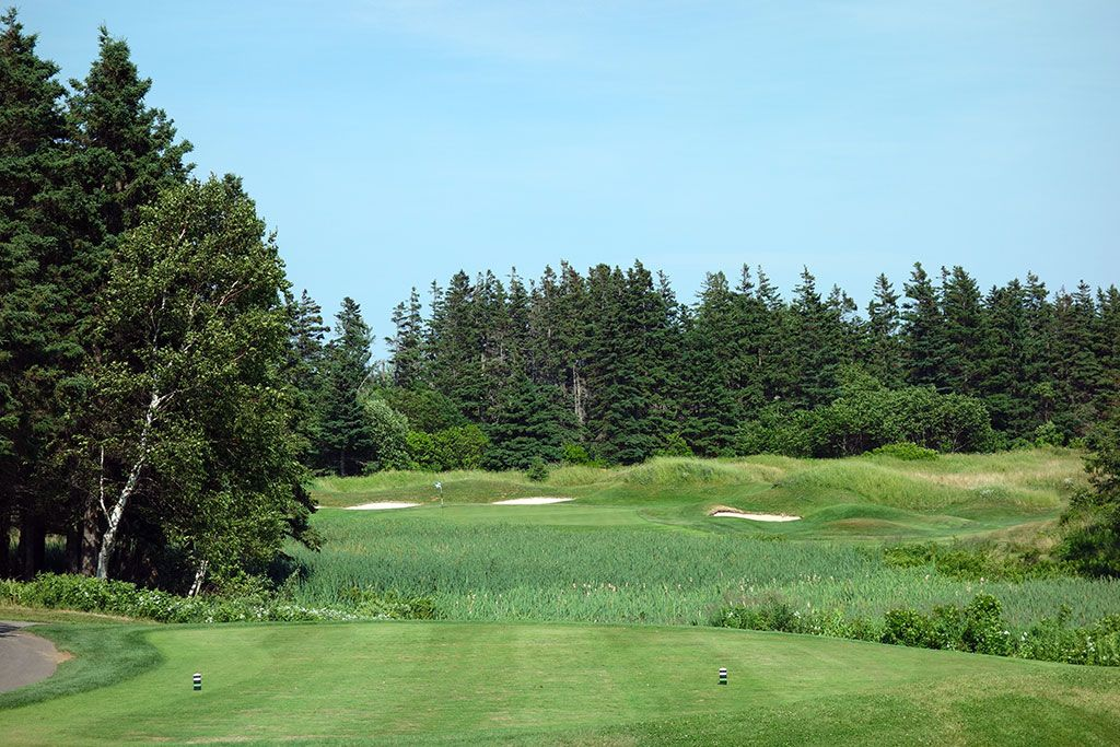 6th Hole at The Links at Crowbush Cove (191 Yard Par 3)