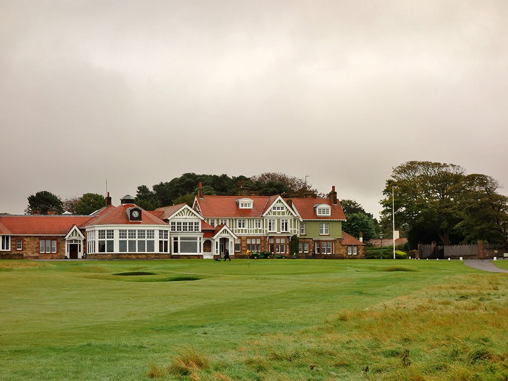 The closing hole at Muirfield with its famous clubhouse as the backdrop