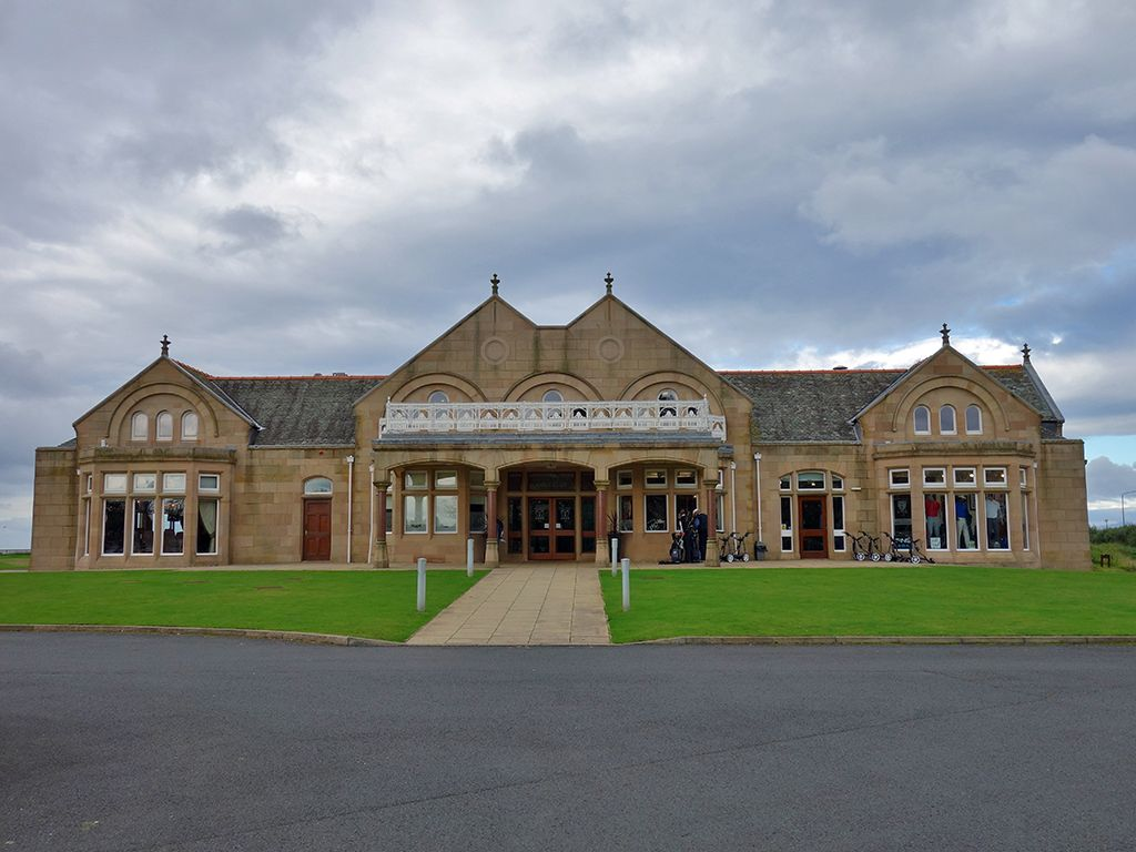 The historical clubhouse at Royal Troon